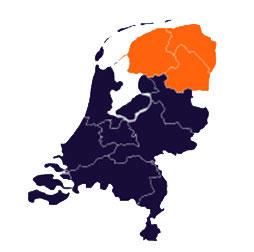 Kaart van de regio Noord van de afdelingen van het Humanistisch Verbond