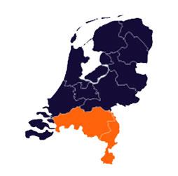 Kaart van de regio Zuid van de afdeling van het Humanistisch Verbond