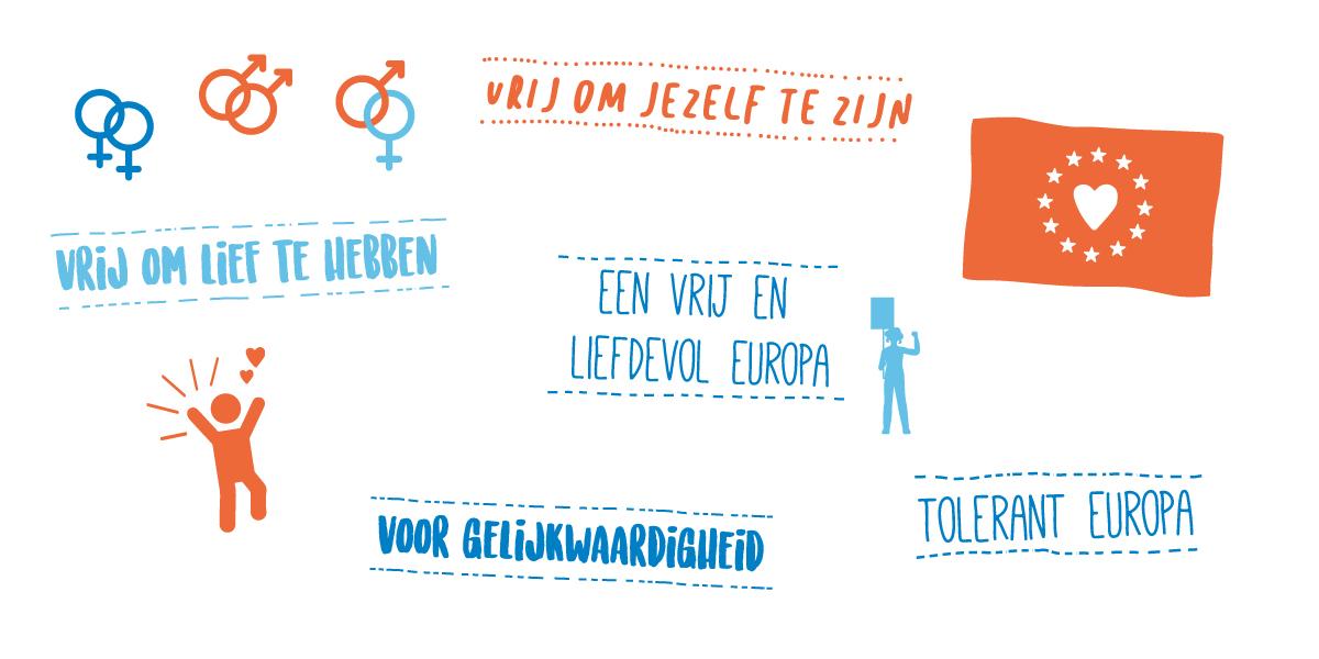 Banner voor het manifest voor vrijheid in Europa