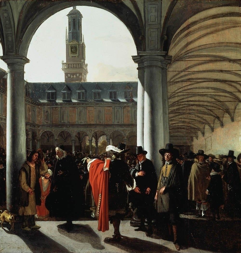 Vrij Amsterdam in de 17e eeuw, De Amsterdamse beurs bij de Dam in de tijd van Spinoza (Emanuel de Witte, De binnenplaats van de beurs in Amsterdam, 1653, Museum Boijmans Van Beuningen, Rotterdam)