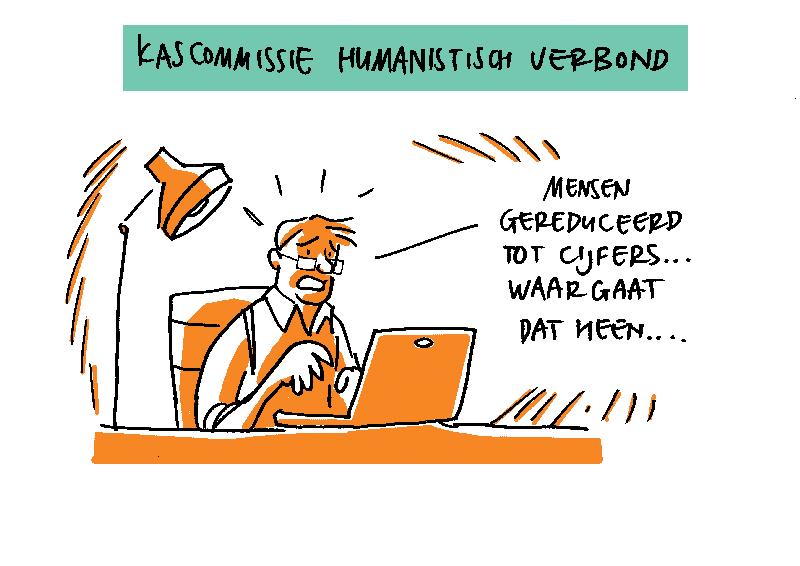 Tekening kascommissie Humanistisch Verbond Amsterdam Amstelland