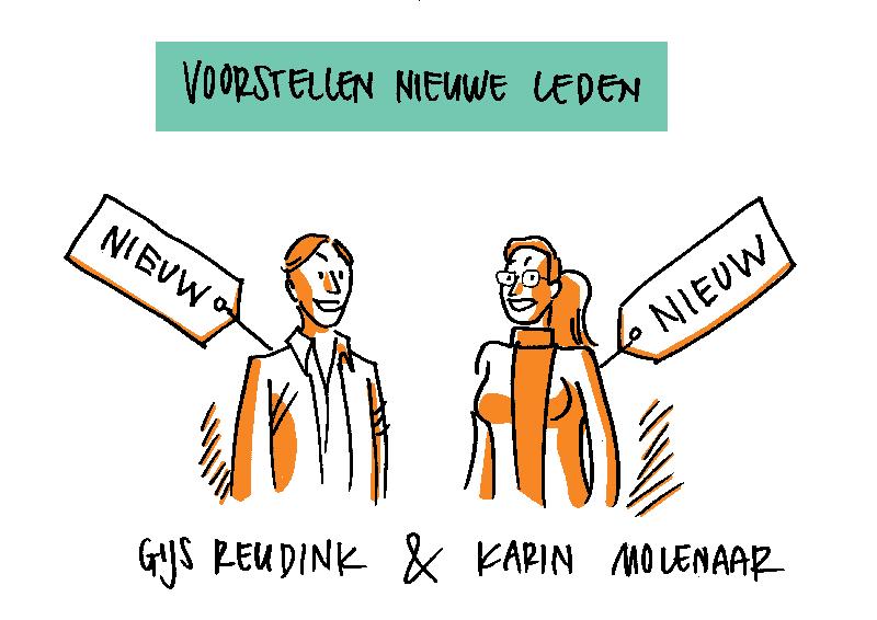 Tekening Gijs en Karin, bestuur Humanistisch Verbond Amsterdam Amstelland