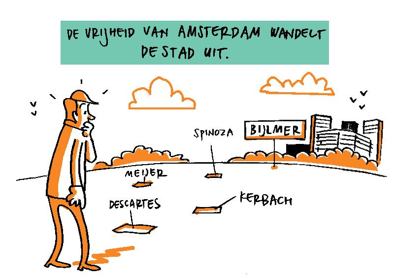 Tekening: De vrijheid van Amsterdam wandelt de stad uit.