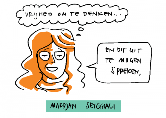 Tekening: Mardjan Seighali spreekt over vrijheid om te denken.