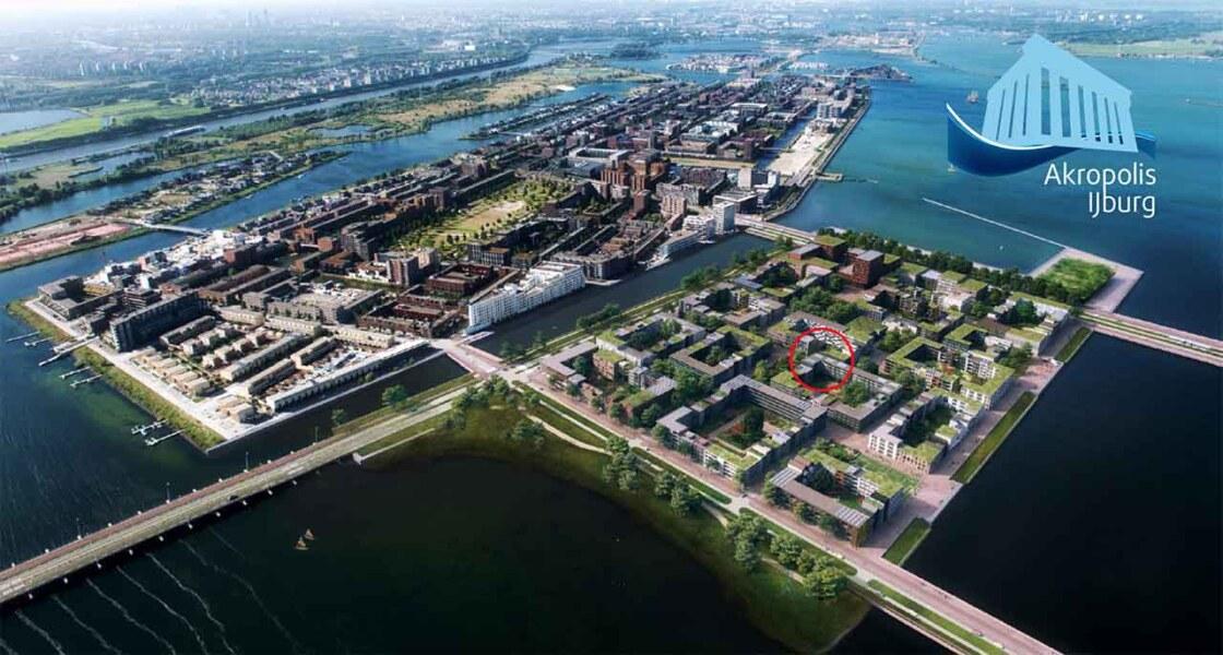 luchtfoto van IJburg met markering van de nieuwe wooncoöperatie Akropolis