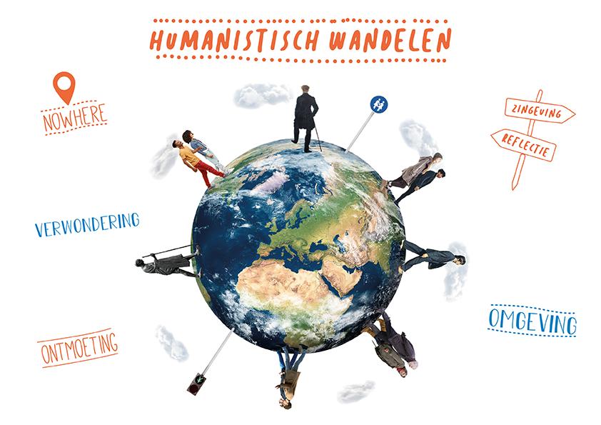 beeld Humanistisch Wandelen wereldbol mensen