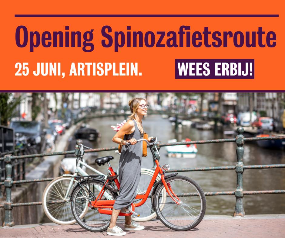 Dame op fiets. Beeld bij opening Spinozafietsroute. Wees erbij!